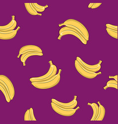 Seamless pattern banana on lilac background vector