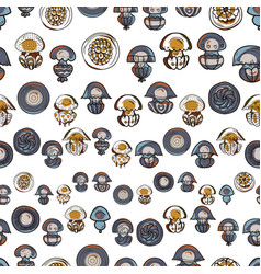 Seamless pattern with cartoon jellyfish vector