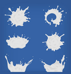 set of different realistic milk splash and pouring vector image