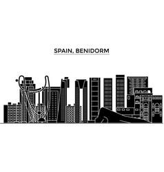 Spain benidorm architecture city skyline vector