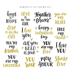 Valentines day romantic phrases collection vector image