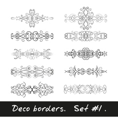 Ten decorative borders in white color set 1 vector