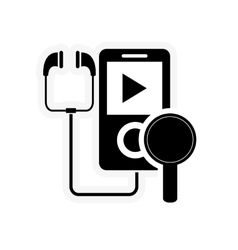 Mp3 player and magnifying glass icon vector