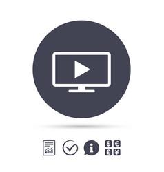 widescreen tv mode sign icon television set vector image