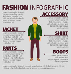 fashion infographic with musician man vector image