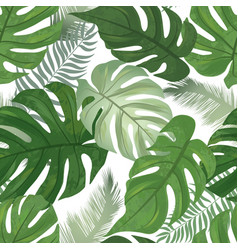Floral seamless pattern tropical leaves vector