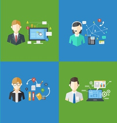 Set of business management jobs vector
