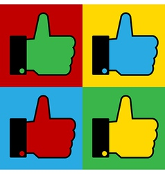 Pop art thumb up icons vector