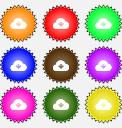 Download from cloud icon sign a set of nine vector