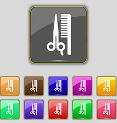 Hair icon sign set with eleven colored buttons for vector