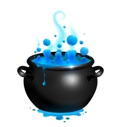 Black cauldron with blue witches potion vector