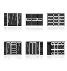 Set of black silhouettes cupboards vector