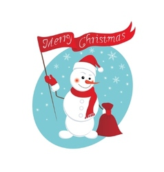 Funny snowman with a bag of gifts vector