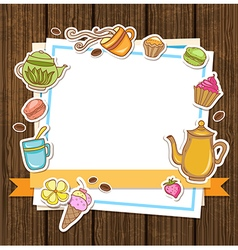 Tea coffee and sweets vector