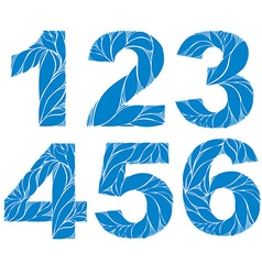 Blue elegant floral numbers decorative digits with vector image