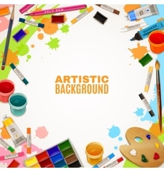 Artistic Background With Tools For Paintings vector image