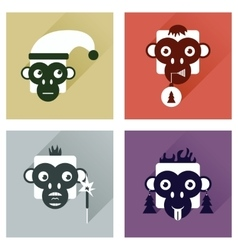 Set of flat icons with long shadow monkey vector