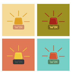 Assembly flat icons poker win lamp vector