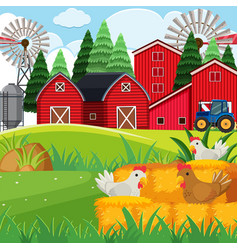 background scene with chickens in the farm vector image