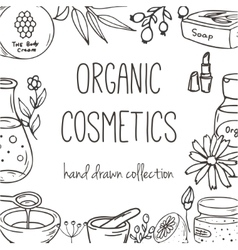 Background with cosmetic bottles organic vector