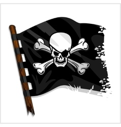 Black pirate flag with skull and bones vector image