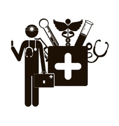 Black silhouette doctor with medical tools vector