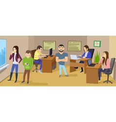 Business character scene teamwork business office vector