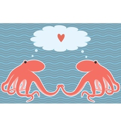 Card with two octopuses vector