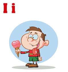 Child with ice cream cartoon vector image vector image