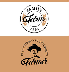 Family farm and farmer hand written lettering vector