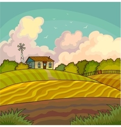 Farm rural landscape with field vector image vector image
