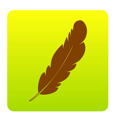 Feather sign brown icon at vector