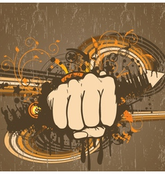 fist with grunge vector image vector image