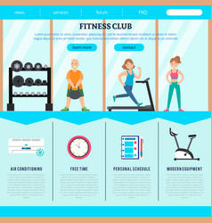 flat fitness club web page template vector image