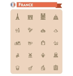 France travel icon set vector image