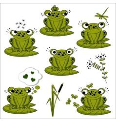Green frogs set vector
