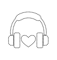 headphones with heart black dashed icon vector image vector image