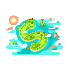 Island paradise nature offshore design vector