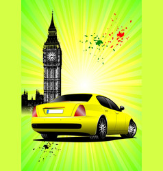 london poster with yellow car image vector image