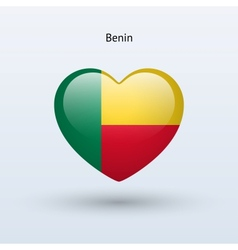 Love Benin symbol Heart flag icon vector image vector image