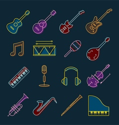 Music instruments objects icons set line design vector