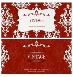 Red 3d Vintage Invitation Template with vector image vector image