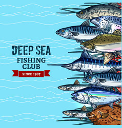 sea fishing club poster design with fish sketches vector image
