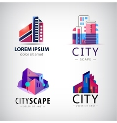 Set of building logos company icons vector