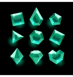 Set of cartoon greenemerald different shapes vector