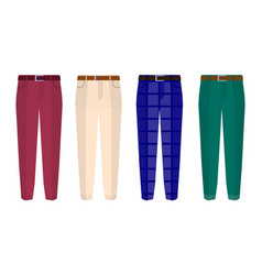 Set of classic trousers for men with seven vector