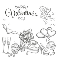 Set of sketch Valentines Day icons vector image vector image