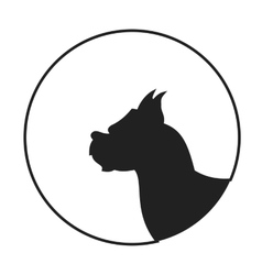 Silhouette of a dog head boxer vector