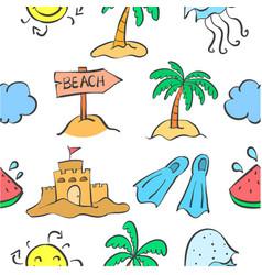 Summer beach pattern doodles vector
