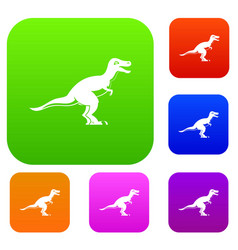 theropod dinosaur set color collection vector image vector image